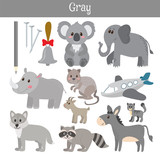Fototapety Gray. Learn the color. Education set. Illustration of primary co