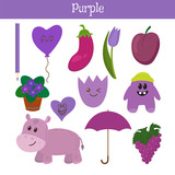 Fototapety Purple. Learn the color. Education set. Illustration of primary