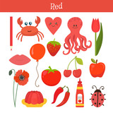 Fototapety Red. Learn the color. Education set. Illustration of primary col