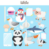 Fototapety White. Learn the color. Education set. Illustration of primary c