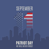 Fototapety Patriot Day background with abstract city skyline.