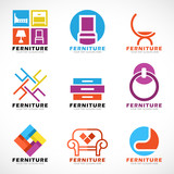 furniture and decor modern logo vector set design