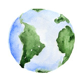 Fototapety Watercolor planet Earth. Isolated planet on white background. Global ecology, environment and science.