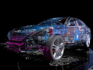 Transparent model cars.