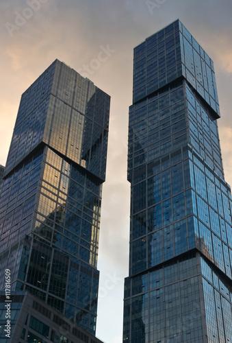 Fototapeta glass towers on a summer evening