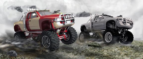 fototapeta wyścig munster trucks