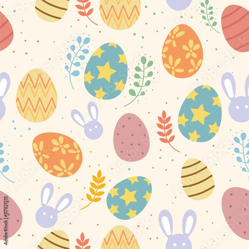 Cotton fabric Colorful Easter Day Pattern