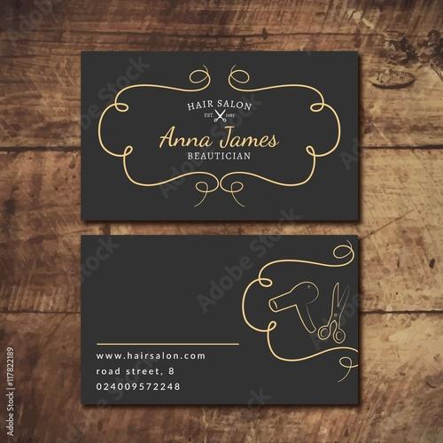 Hand drawn hair salon card