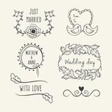 Sketches floral wedding elements set - 117822333