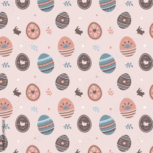 Cotton fabric Easter eggs pattern
