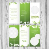 Green trifold template with leaves