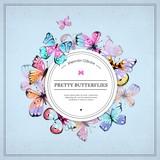 Hand drawn butterflies label