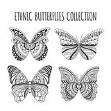 Hand drawn ethnic butterflies set