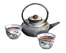 Traditionnel ensemble de thé de porcelaine. Aquarelle