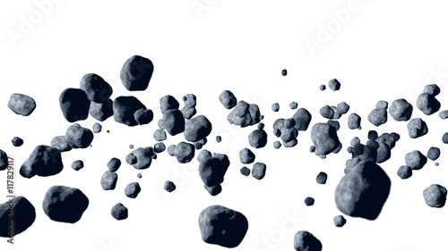 Plexiglas Nasa flying asteroid, meteorite. isolate. 3d rendering