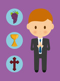 cross cup grapes boy kid cartoon icon. First communion concept. Flat and Colorfull illustration. Vector graphic