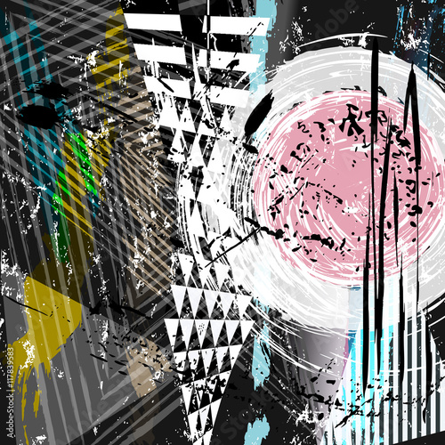 Obraz abstract background composition, with strokes, splashes and geom