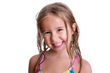 Happy little girl with wet hair