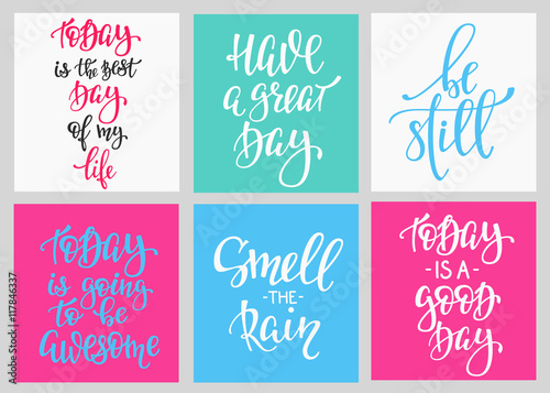 Papiers peints Positive Typography Lettering postcard quotes set