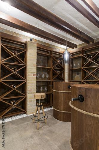 Fototapeta Wine cellar in luxury villa