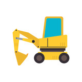 under construction backhoe icon vector illustration