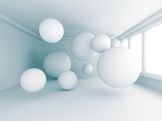 Empty White Room With Many Spheres © VERSUSstudio
