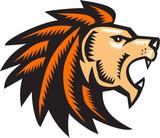 Angry Lion Big Cat Growling Head Woodcut