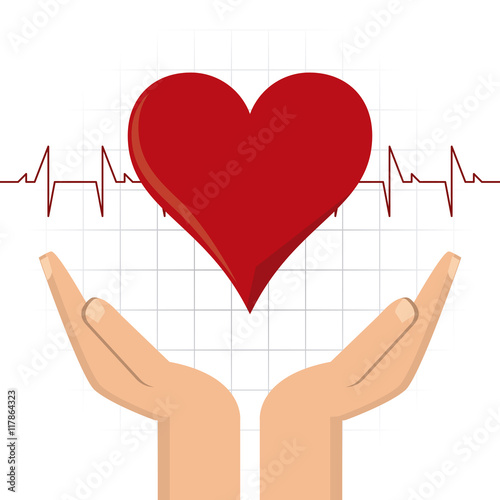 Zdjęcia na płótnie, fototapety, obrazy : arm heart hand blood donation icon. Colorfull and flat illustration. Vector graphic