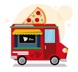 pizza truck fast food delivery transportation creative icon. Colorfull illustration. Vector graphic