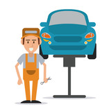 mechanic man cartoon vehicle car auto rapair service maintenance icon. Colorfull illustration. Vector graphic