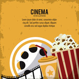 pop corn soda movie film reel cinema icon. Colorfull and grunge illustration. Vector graphic