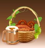 Wooden beer mug. Wicker basket with pretzels and grilled sausages