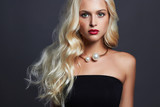 beautiful sensual woman with elegant hairstyle.Blonde girl. Fashion beauty Jewelry