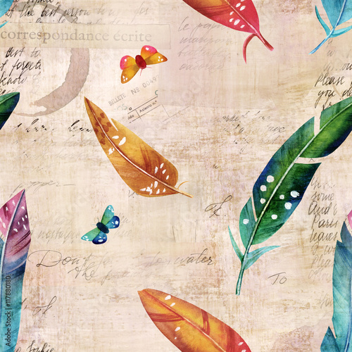 Cotton fabric Old ephemera with watercolor feathers and butterflies, seamless