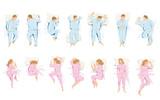 Illustrazione di differenti posizioni che si assumono mentre si dorme e si sogna