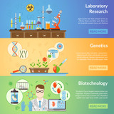 Biotechnology And Genetics Horizontal Banners
