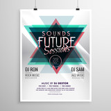 event flyer poster template with abstract triangle shapes