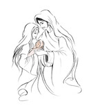 Baby Jesus Mary and Joseph in abstract line art drawing on white background; Christmas holiday season