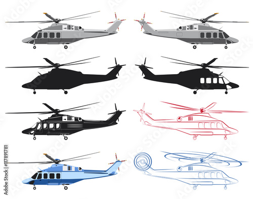 Fototapeta Several images of the helicopter with various kinds of graphic design