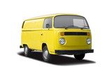 Classic yellow van side view isolated on white