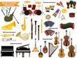 Big set of musical instruments.
