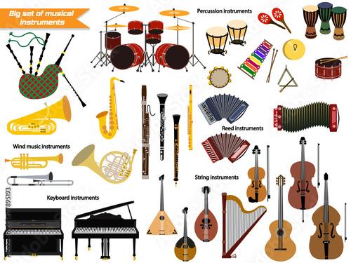 Fototapeta Big set of musical instruments.