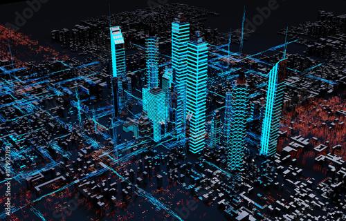 Render hologram futuristic city