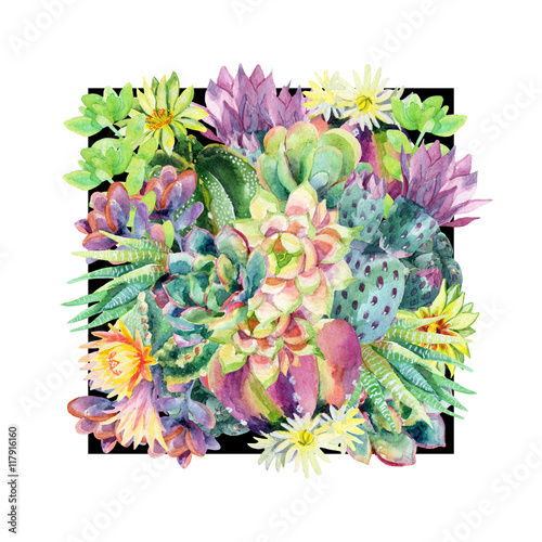 Plakat Watercolor blooming cactus background