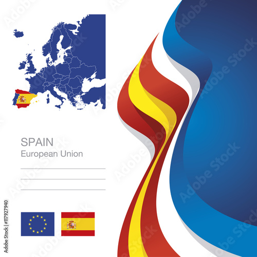 Zdjęcia na płótnie, fototapety, obrazy : Spain European Union flag ribbon map abstract background