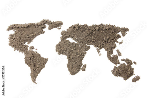 Foto op Aluminium Wereldkaarten World map with the texture of the soil on white background