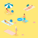 Isometric landscape with sea