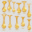 Transparent hanging drops. Transparency only in vector file