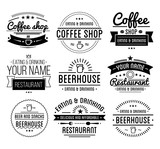 Fototapety Black logo. Coffee shop template. Restaurant label. Beer house label.
