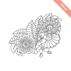 Hand drawn floral background  doodle  style. Design for cover.  Coloring page